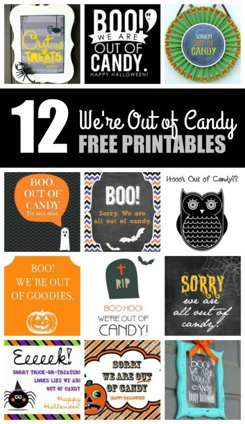 12 We're Out of Candy Free Printables