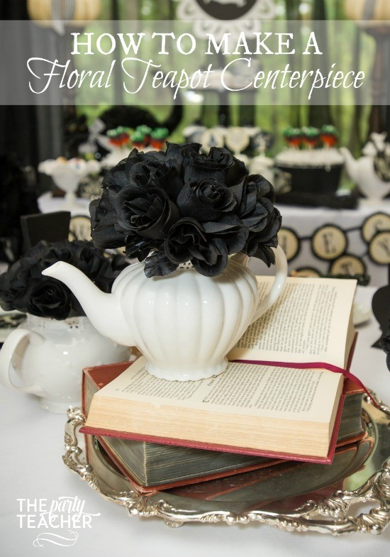 How to make a floral teapot centerpiece by The Party Teacher