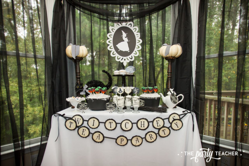 Witch's Tea Party by The Party Teacher-create a party backdrop with sheer curtains