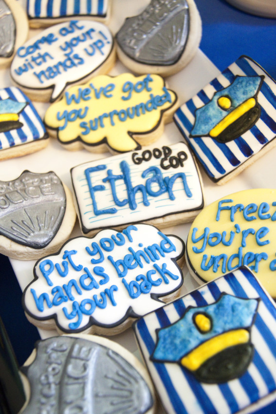 Cop Cookies at Cops and Robbers Party by Sparkling Sweets Boutique