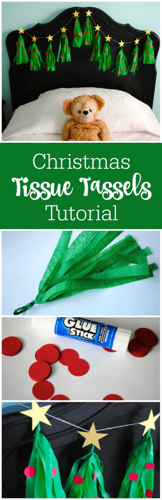 How to make Christmas tree tissue tassels by The Party Teacher