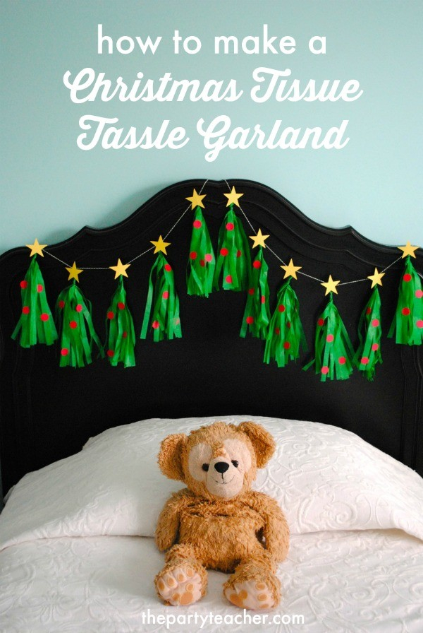 How to make a Christmas Tree Tissue Garland by The Party Teacher