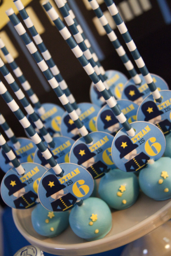 Police uniform cake pops - Cops and Robbers Party by Sparkling Sweets Boutique-5