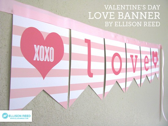 picture about Valentine Banner Printable known as Freebie Friday: 28 Cost-free Valentines Printable Banners - The