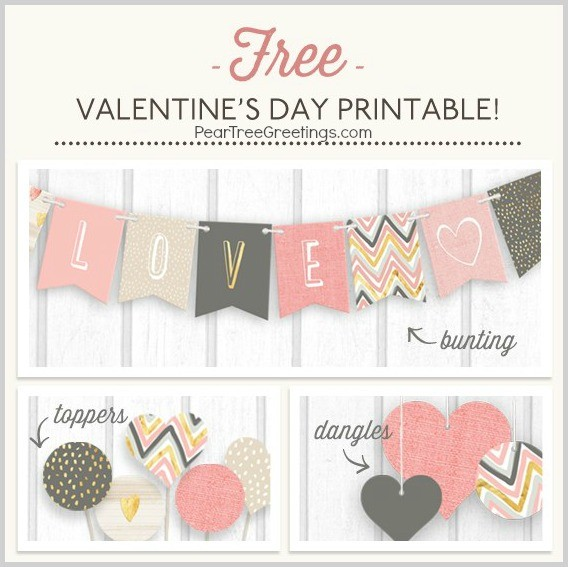 FF Pear Tree Greetings Valentines Day Banner