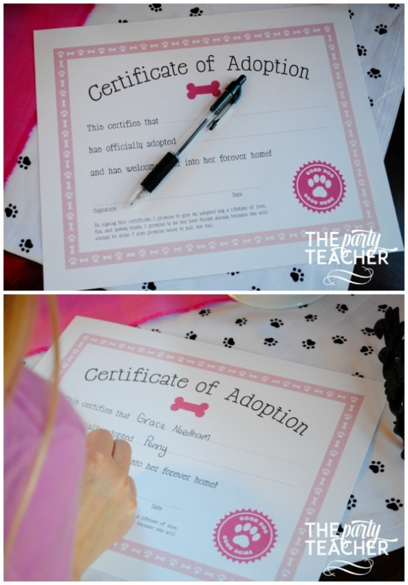Puppy Party certificate of adoption - The Party Teacher