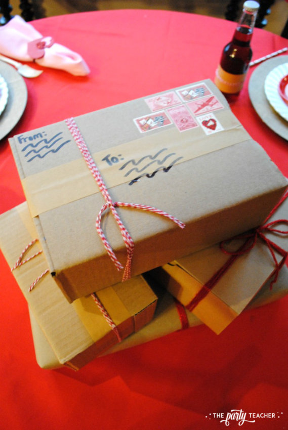 Brown Paper Packages Tied Up in String Valentine's Day Party by The Party Teacher - centerpiece 2