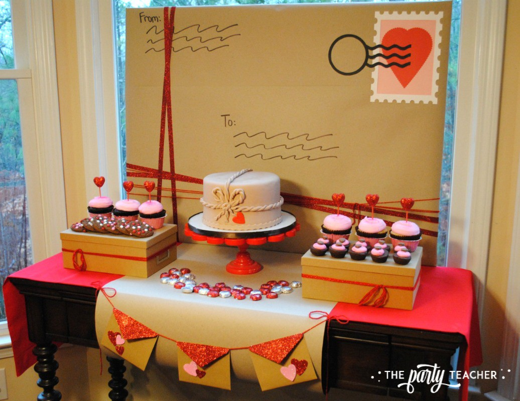 Brown Paper Packages Tied Up in String Valentine's Day Party by The Party Teacher - dessert table 2