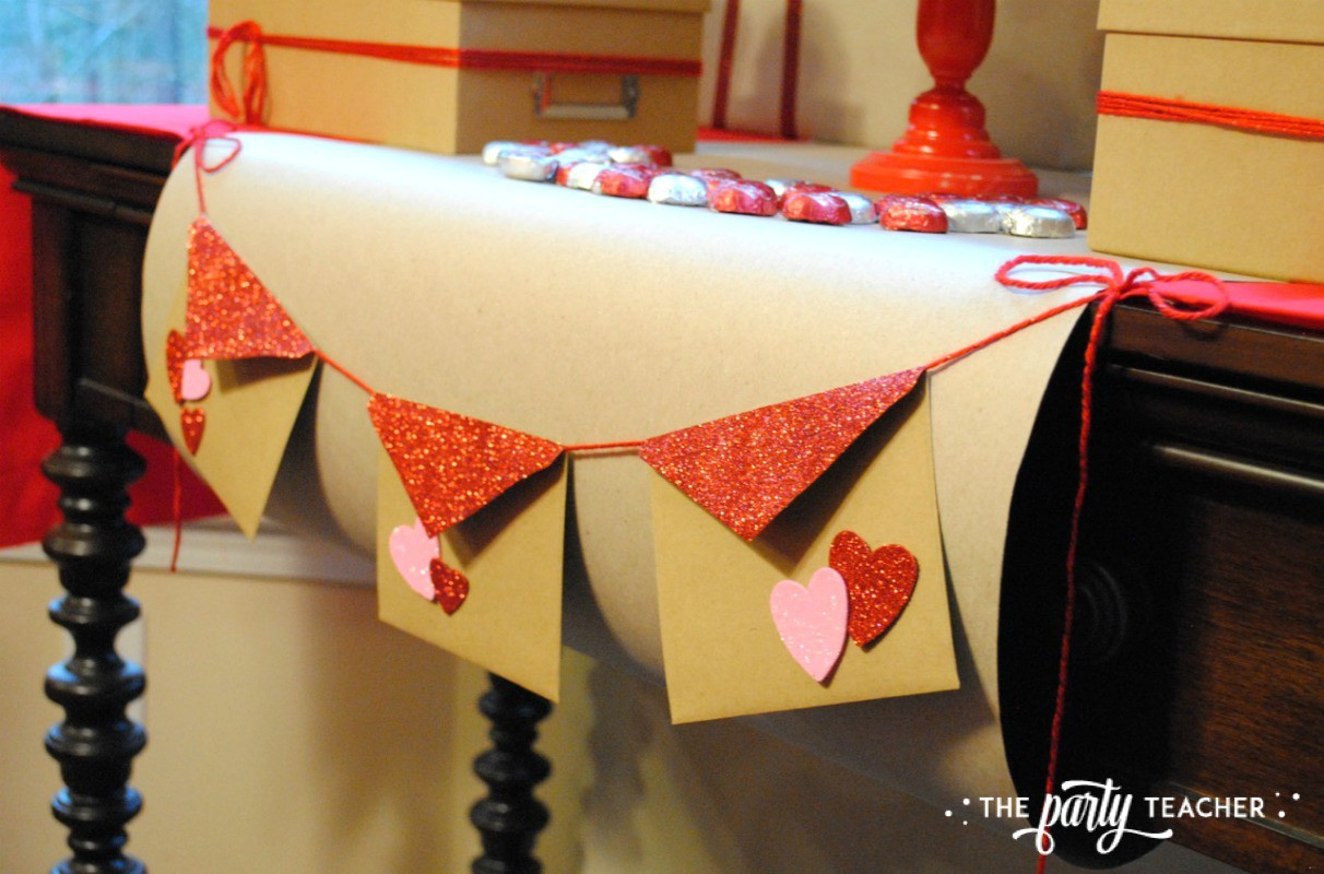 Brown Paper Packages Tied Up in String Valentine's Day Party by The Party Teacher - dessert table banner