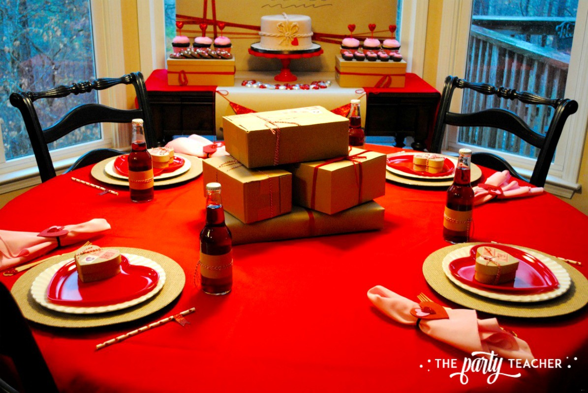 Brown Paper Packages Tied Up in String Valentine's Day Party by The Party Teacher - dining table
