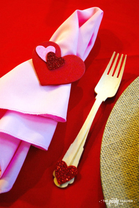 Brown Paper Packages Tied Up in String Valentine's Day Party by The Party Teacher - heart napkin rings