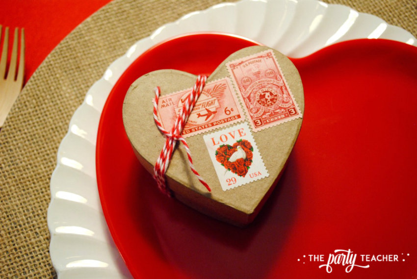 Brown Paper Packages Tied Up in String Valentine's Day Party by The Party Teacher - place setting with party favor