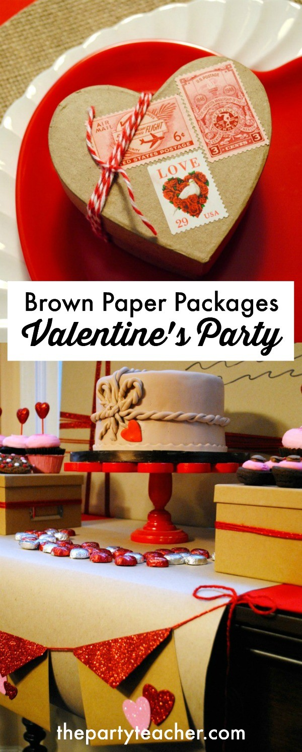 Brown Paper Packages Tied Up in String Valentine's Day Party by The Party Teacher