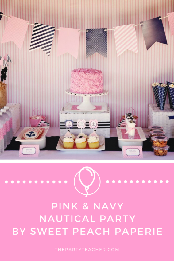 Pink and Navy Nautical Party by Sweet Peach Paperie featured on The Party Teacher