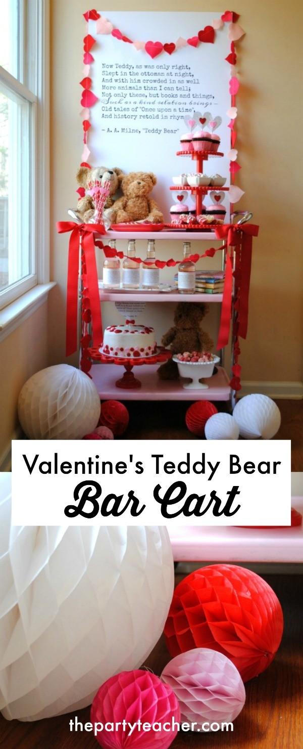 Valentine's Teddy Bear Bar Cart by The Party Teacher