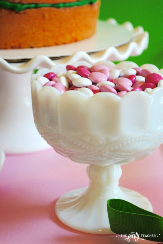 Simply Irish St Patricks Day Party by The Party Teacher - M&Ms in milk glass bowl