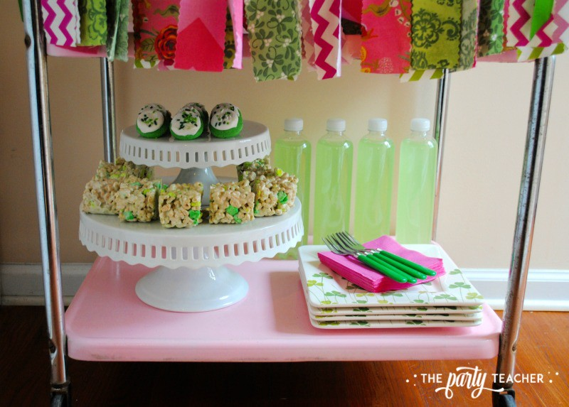 Simply Irish St Patricks Day Party by The Party Teacher - bar cart bottom shelf