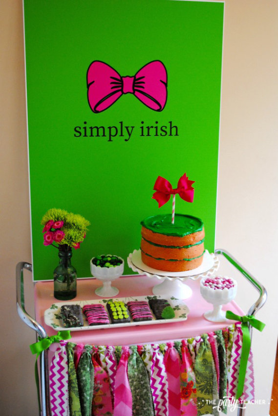 Simply Irish St Patricks Day Party by The Party Teacher - bar cart with Simply Irish backdrop