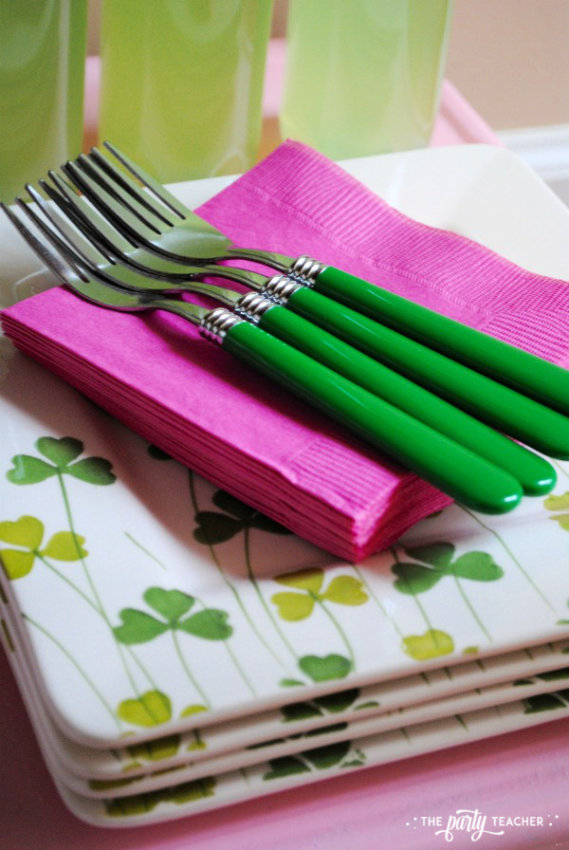 Simply Irish St Patricks Day Party by The Party Teacher - pink and green forks napkins plates