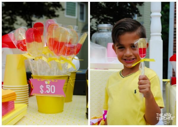 Pink lemonade stand by The Party Teacher - Jolly Rancher Lollipops