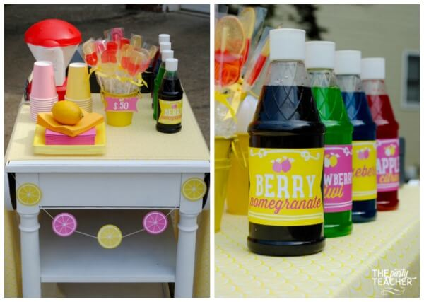 Pink lemonade stand by The Party Teacher - snow cone station