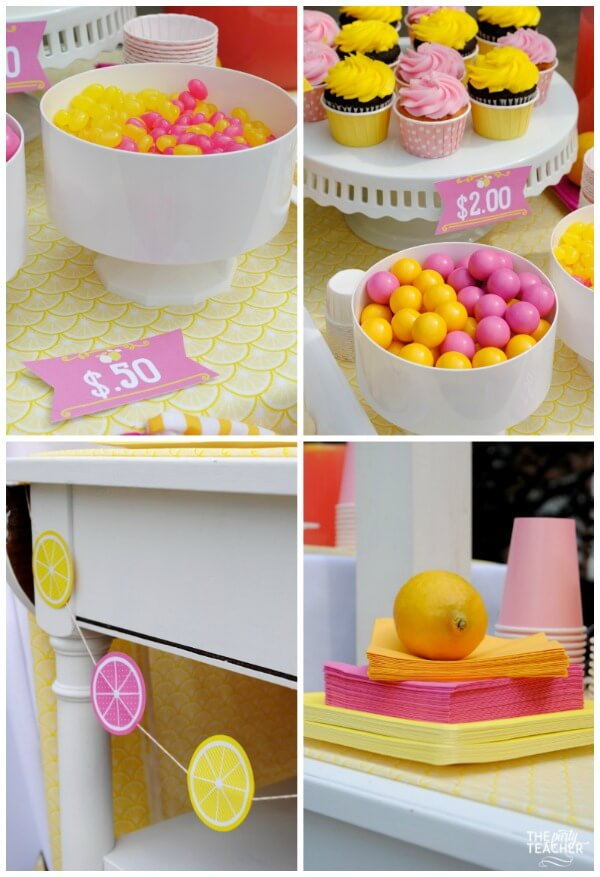 Pink lemonade stand by The Party Teacher