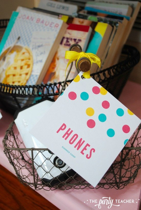 8 weeks of summer fun ideas by The Party Teacher - phone basket