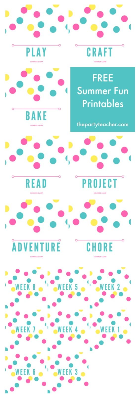 Free Summer Fun Printables by The Party Teacher - plan your summer with your kids