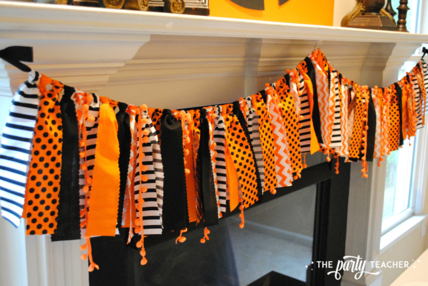 Pumpkin Decorating Halloween Party by The Party Teacher - fabric bunting