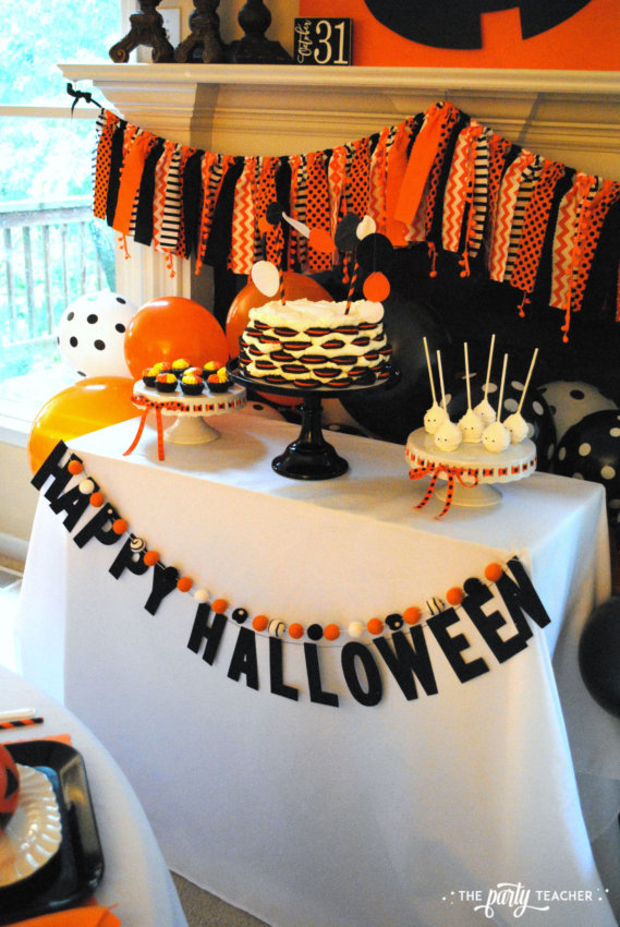 Pumpkin Decorating Halloween Party by The Party Teacher - dessert table