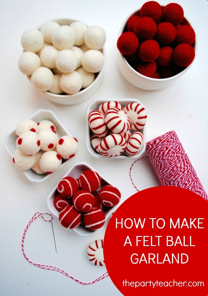 How to Make a Felt Ball Garland Tutorial by The Party Teacher - 3
