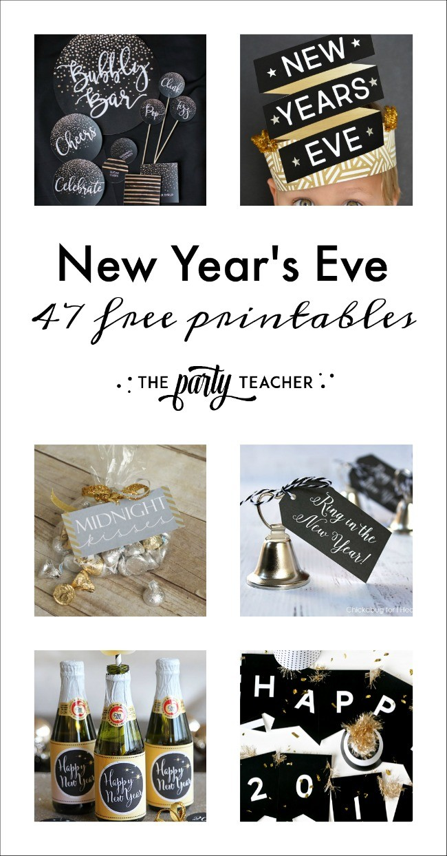 47 New Year's Eve free printables curated by The Party Teacher