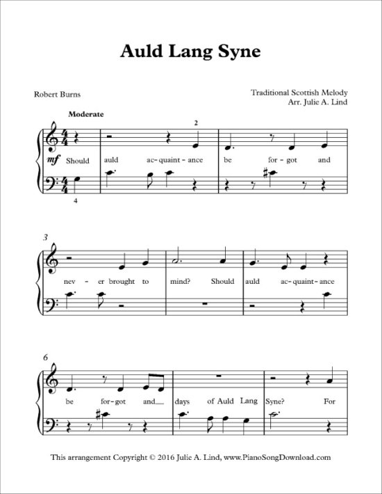 FF Piano Song Download NYE Auld Lang Syne
