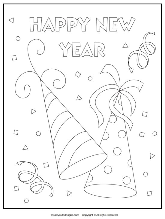 new years resolution coloring pages | Freebie Friday: 47 New Year's Eve Free Printables - The ...