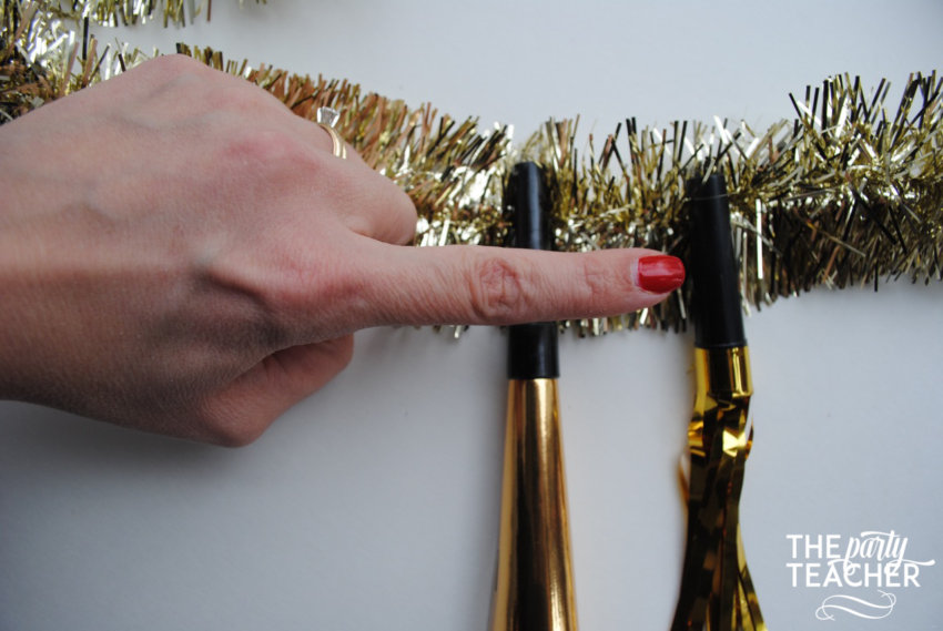 New Year's Eve Party Horn Garland Tutorial by The Party Teacher - 4