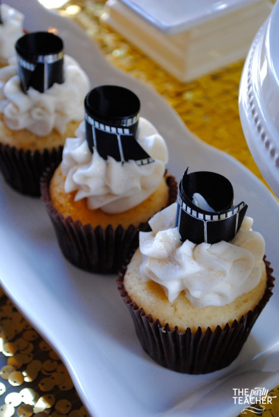 New Year's Eve Family Movie Night by The Party Teacher - film cupcake topper