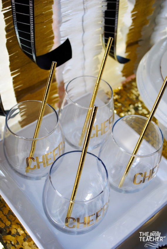 New Year's Eve Family Movie Night by The Party Teacher - cheers glasses gold straws
