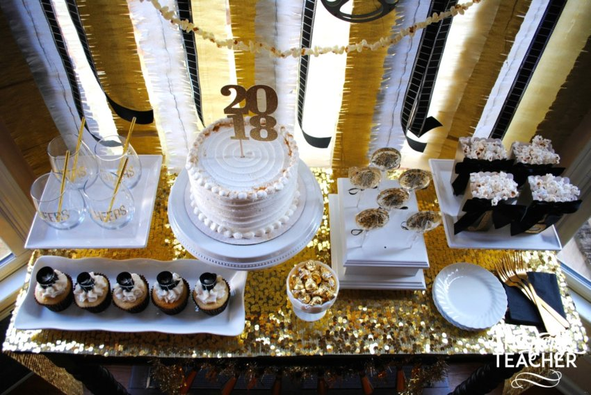 New Year's Eve Family Movie Night by The Party Teacher - dessert table overhead