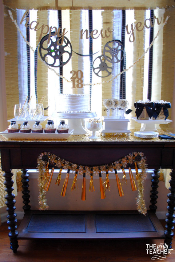 New Year's Eve Family Movie Night by The Party Teacher - dessert table
