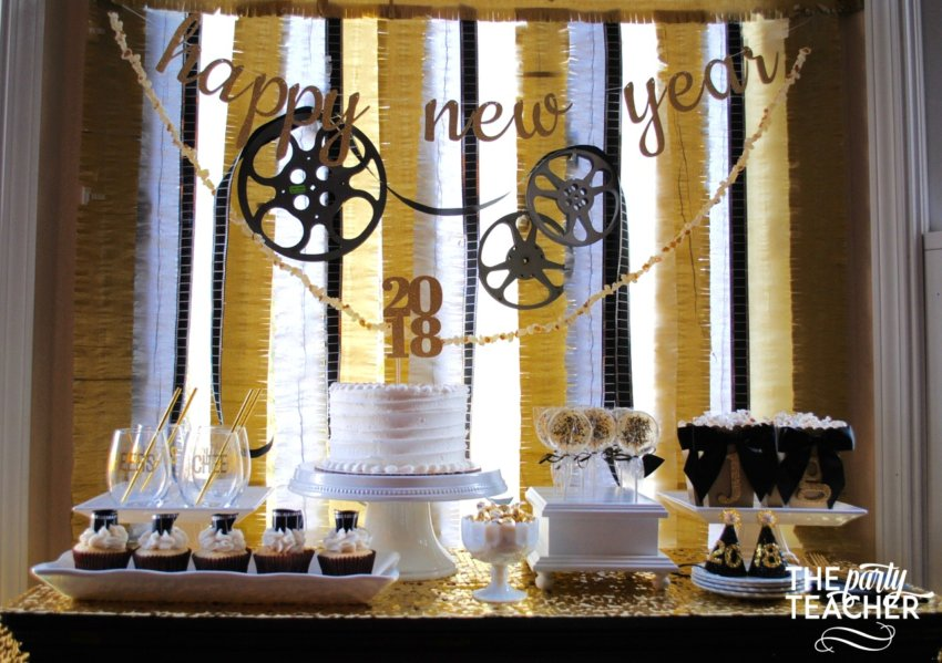New Year's Eve Family Movie Night by The Party Teacher - dessert table 2