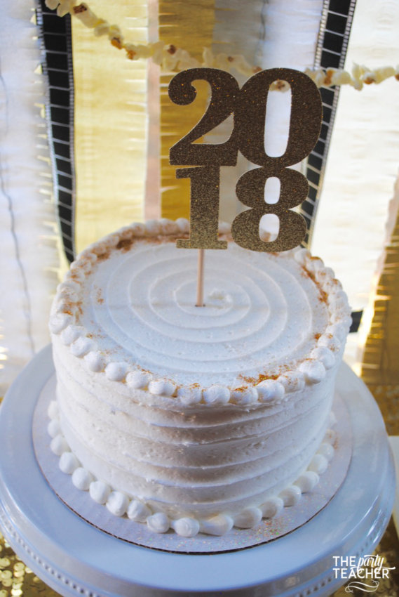New Year's Eve Family Movie Night by The Party Teacher - glittered cake topper