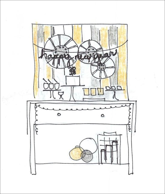 New Year's Eve Family Movie Night by The Party Teacher - dessert table sketch
