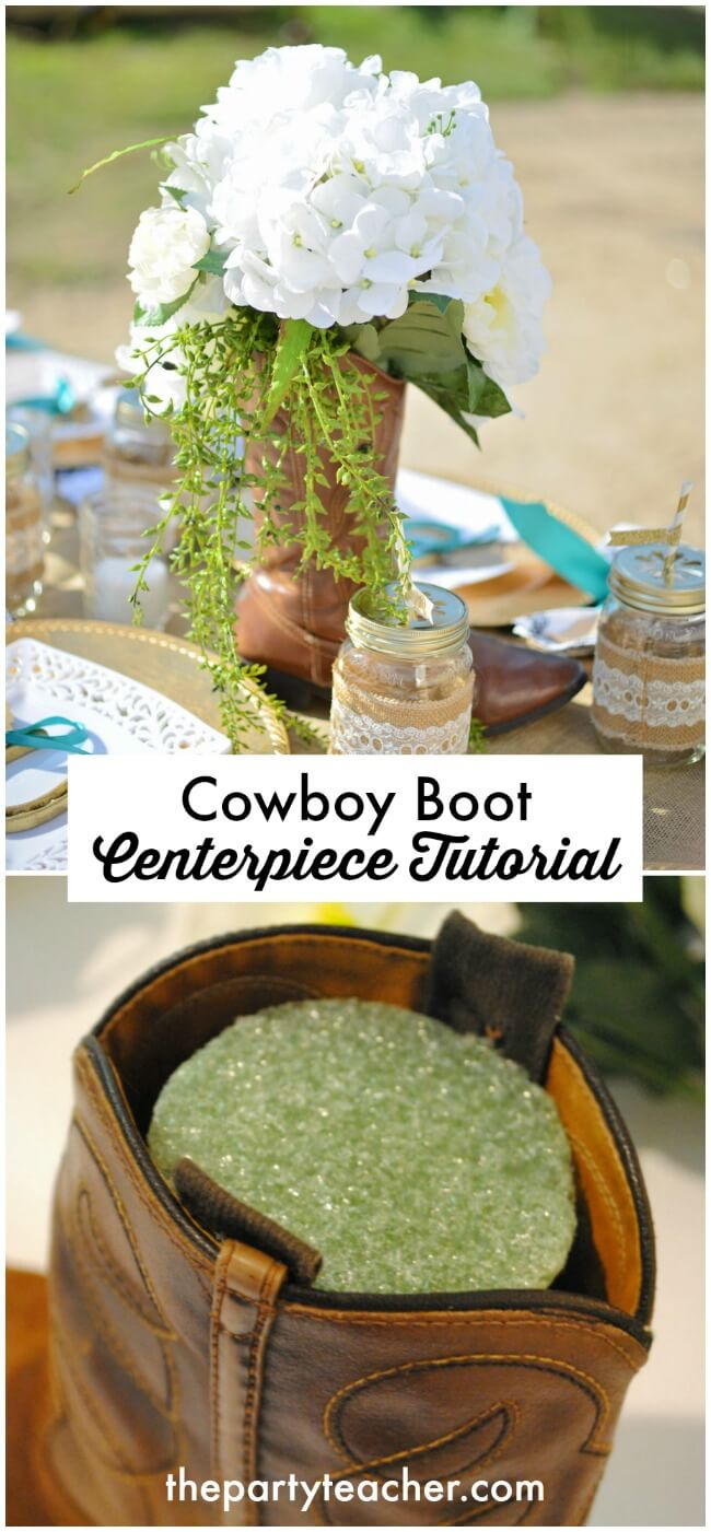 Cowboy boot centerpiece tutorial by The Party Teacher