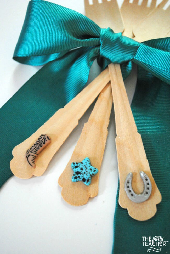 How to decorate forks with buttons by The Party Teacher-horse party forks