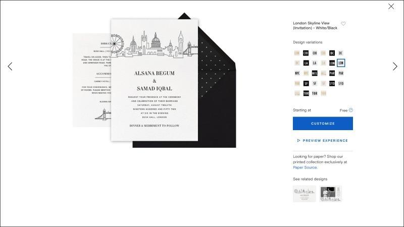 Paperless Post London Skyline Invite