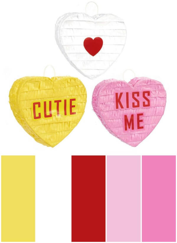 Valentine's Day party mini pinatas and color palette