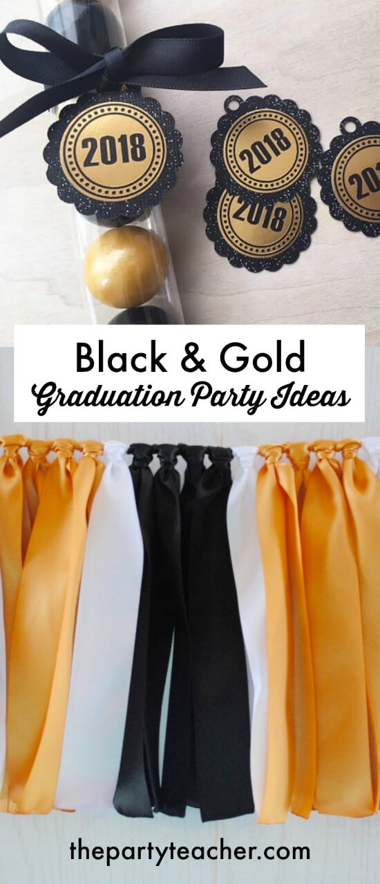 Black and gold graduation party ideas by The Party Teacher