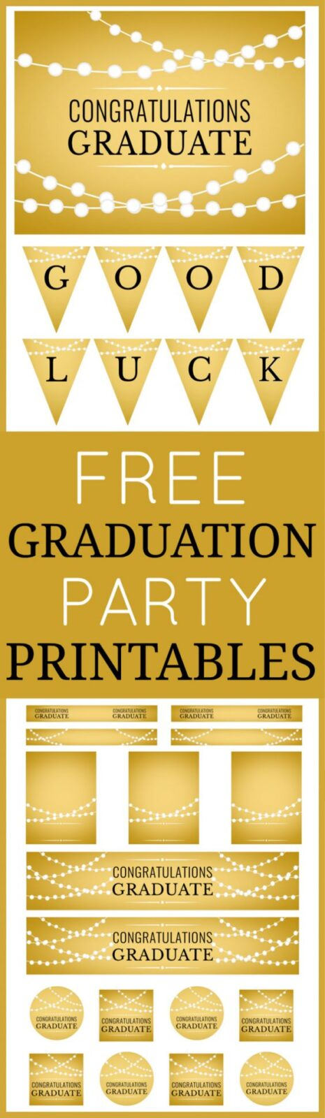 Gold free graduation party printables by Printabelle via Catch My Party