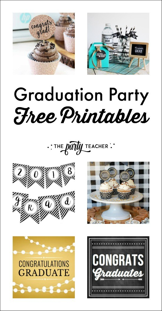 Graduation party free printables curated by The Party Teacher