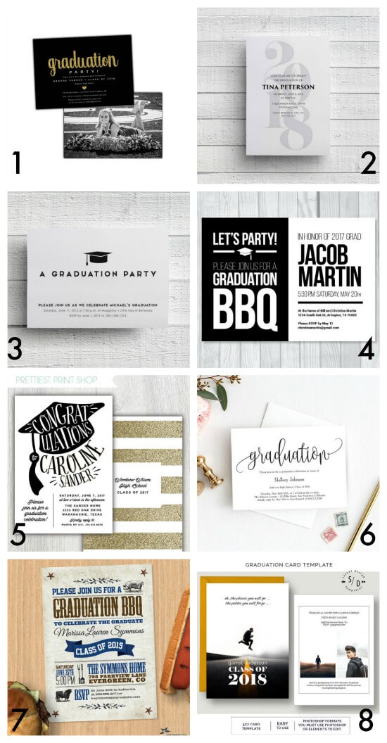 Graduation party invitations - curated by The Party Teacher